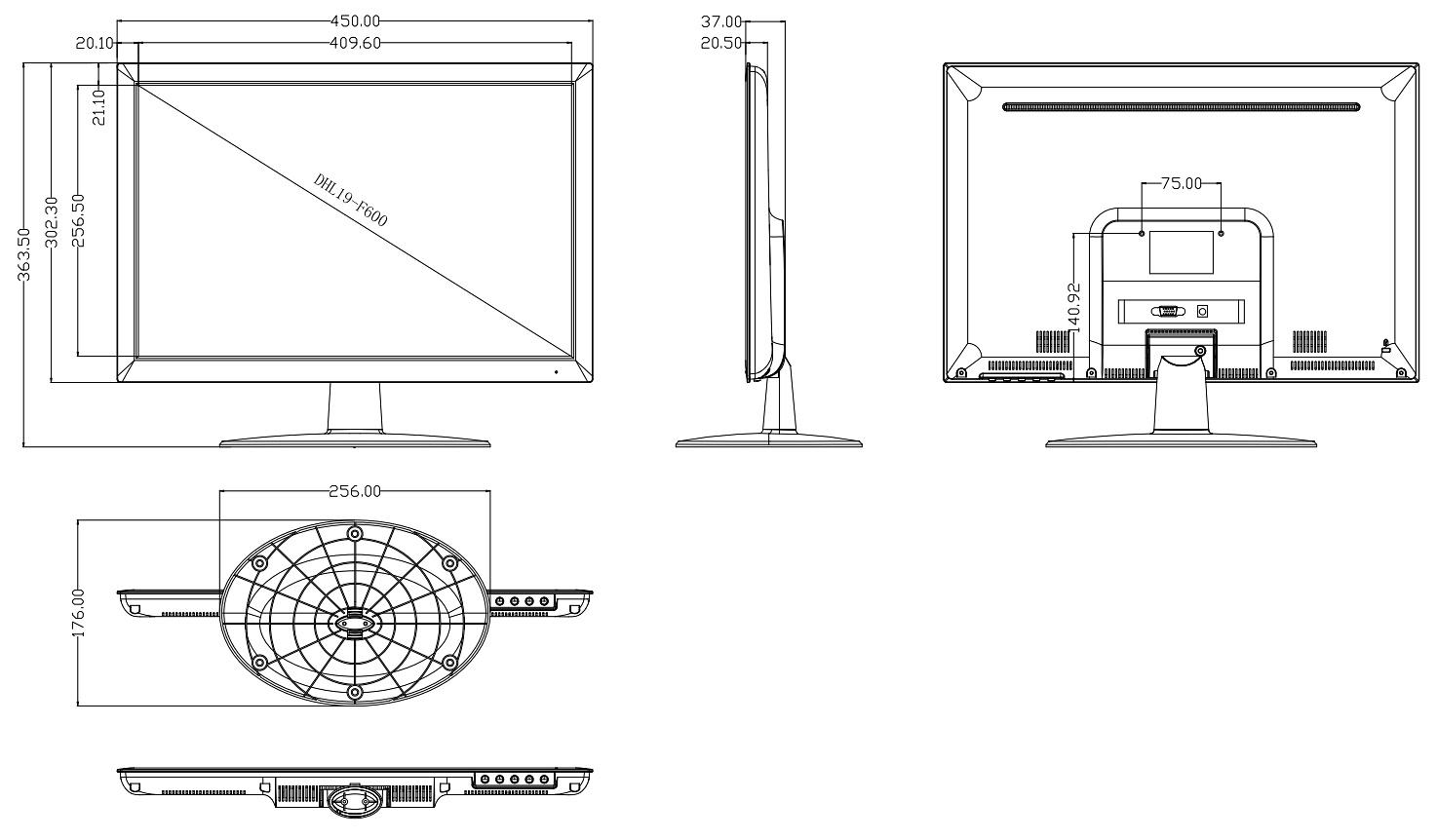Monitor Vga Dhl19 F600 19 Led Dahua Monitoare Lcd Delta Veti Plug Wiring Diagram Dimensiuni