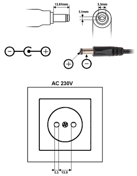 POWER SUPPLY ADAPTER 12V 5A 5 5 P50