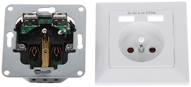 SINGLE SOCKET OUTLET WITH USB POWER ADAPTER OR AE 13140 230 V 16 A ORNO
